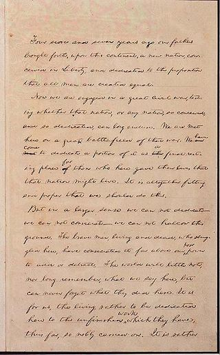 First page draft of the Gettysburg Address in Lincoln's Handwriting