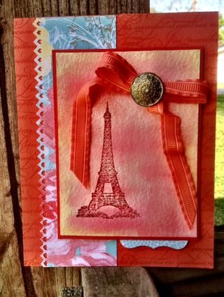 Stampin up card idea artistic etchings eiffel tower watercolor