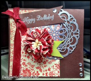 Stampin up paper doily sizzlit card idea