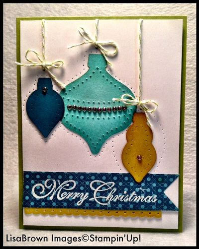 Stampin up christmas card idea holiday ornament framelits